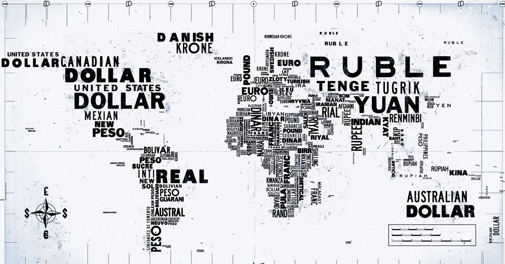 International AdWords global currency map concept