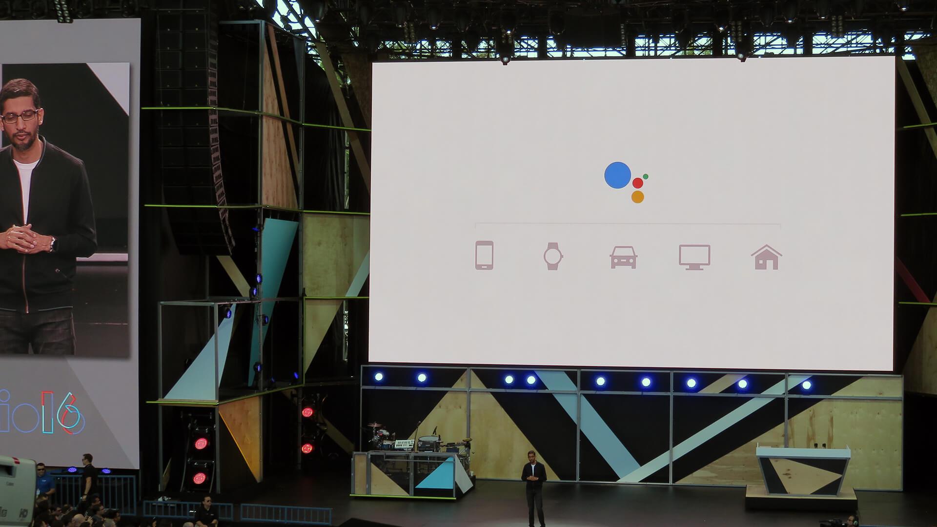 Google CEO Sundar Pichai presenting the Google Assistant on Tuesday.