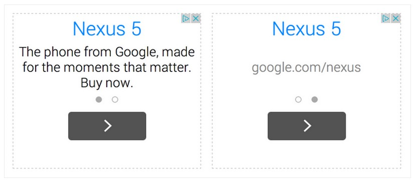 Google AdSense text ads for mobile with swipe