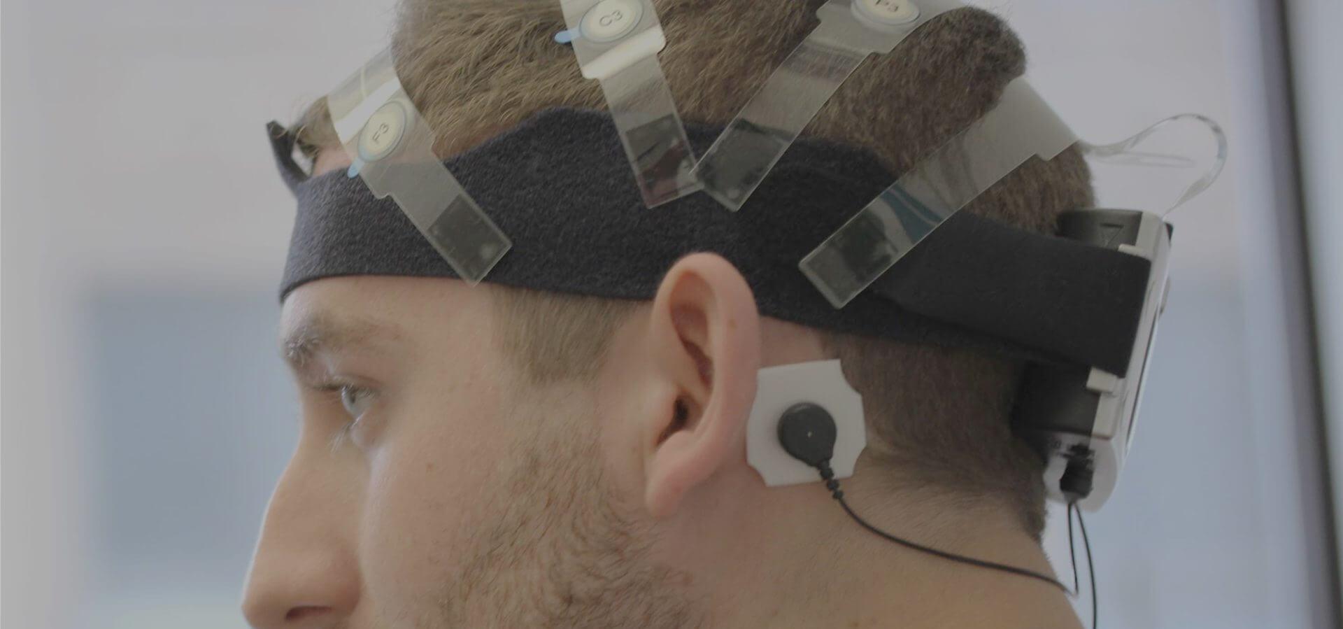 EEG headgear, in MediaBrix' lab.