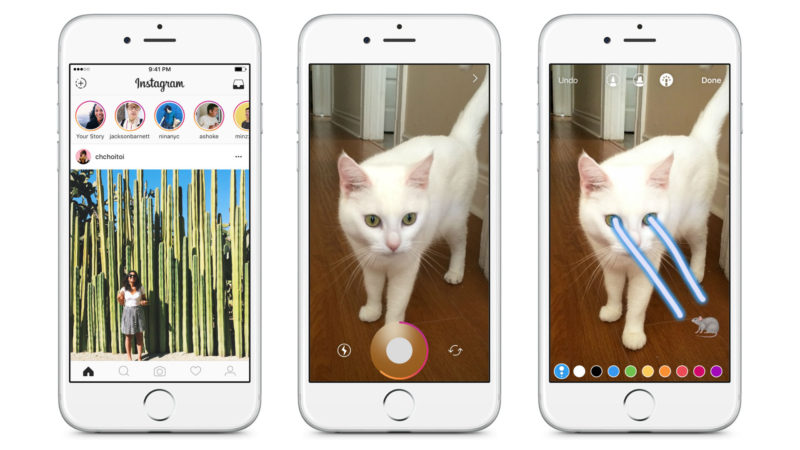 Instagram's Stories feed appears prominently atop the app's main feed.