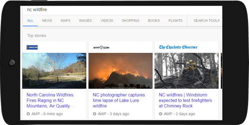 Top Stories AMP carousel in Google Search