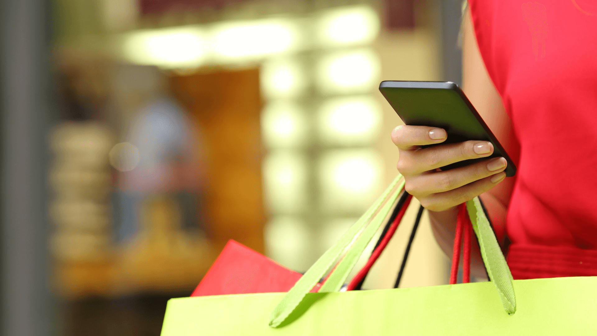 phone and shopping bags