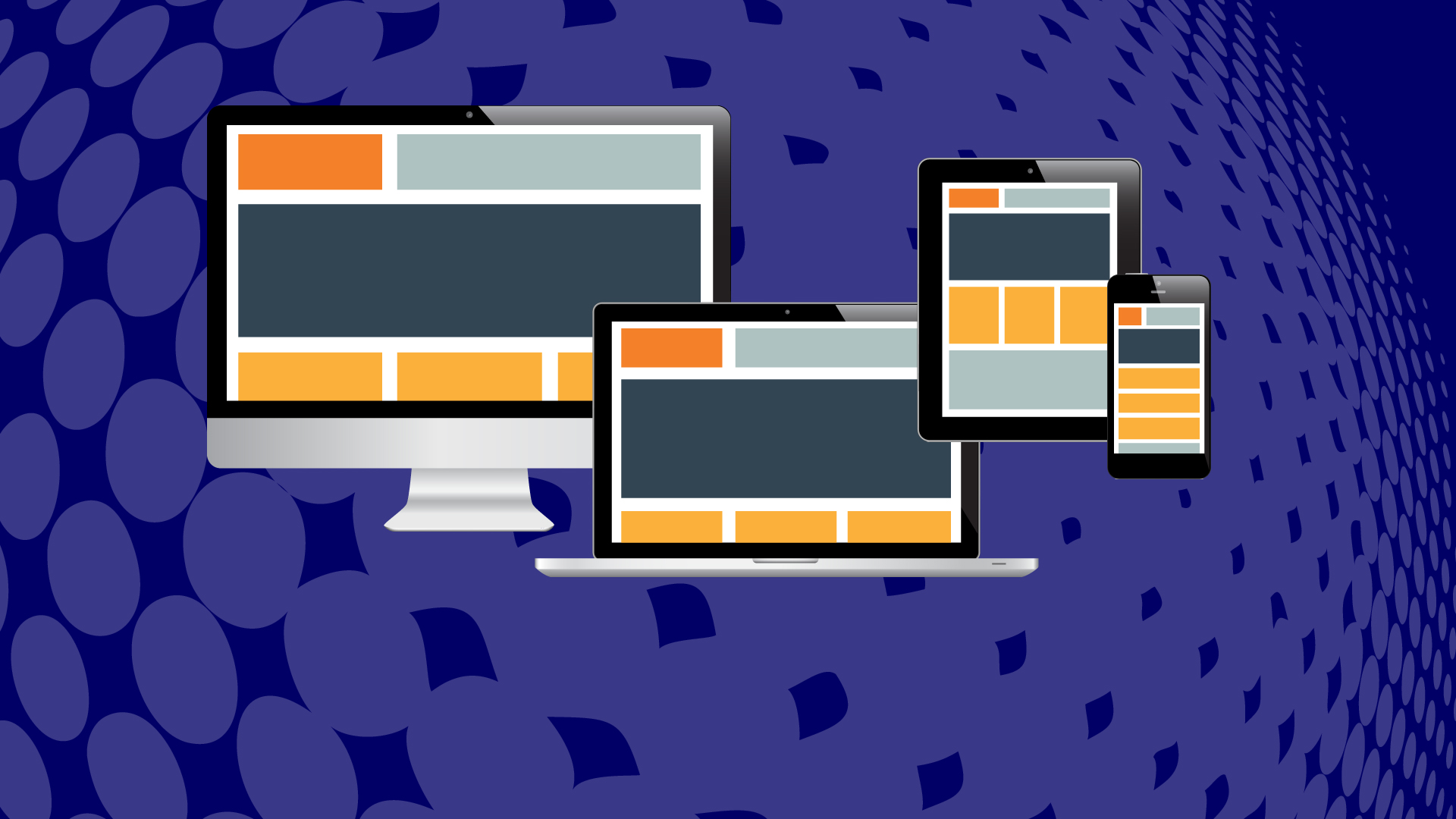Responsive web design across several screens.