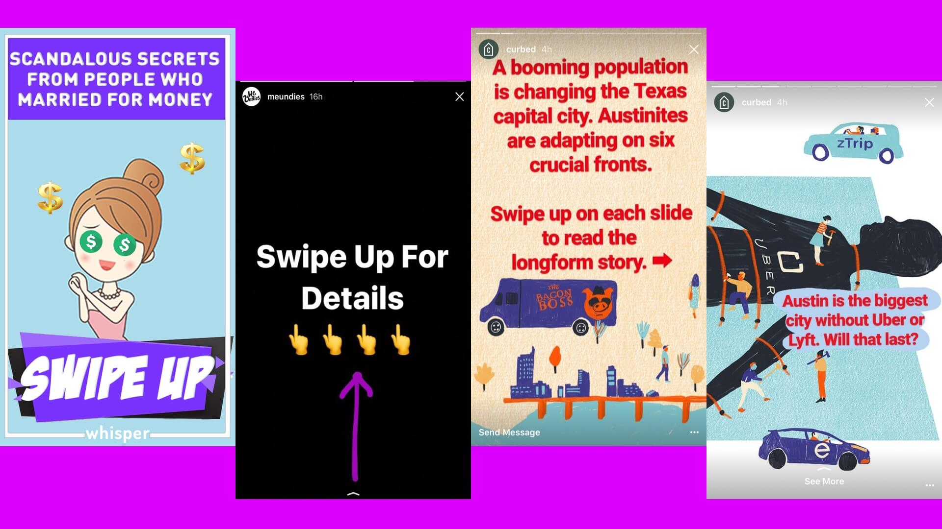 How Whisper, MeUndies and Curbed tease links in their Instagram Stories.
